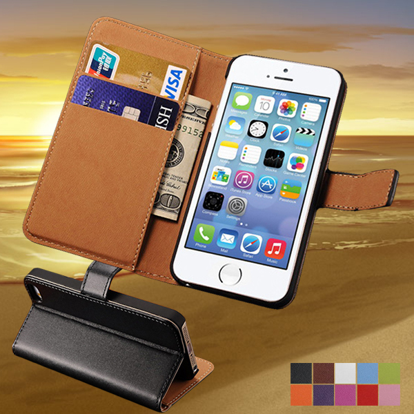 Flip Genuine Leather Case For iPhone 5 5s Wallet Style With Stand Phone Bag Cover Luxury For IPHONE5 Protective Case(China (Mainland))