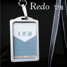 High Quality Aluminum Alloy Lanyard Card holder Metallic Badge Holder Bus ID Card Holders Customized Office supplies Wholesale(China (Mainland))