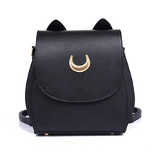 New Sailor Moon Black PU Leather Backpack Women Shoulder Rucksack 2016 School Bags for Teenage Girls Brand Sac A Dos Femme(China (Mainland))