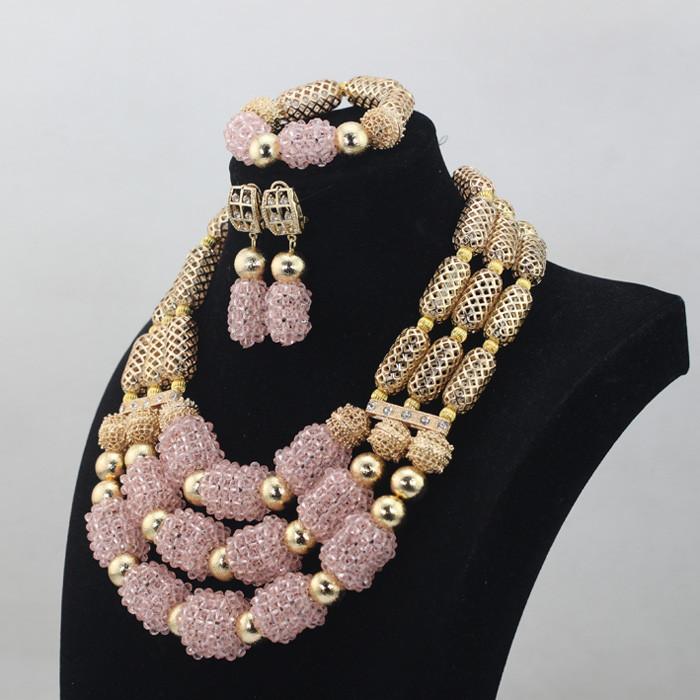 Довольно Мода Африканский Свадьба Золото Смешать Бледно-Розовый 3 Строк Хрустальные Бусины Ювелирные Наборы Ожерелье Африканский Аксессуары Бесплатная ShipABL836