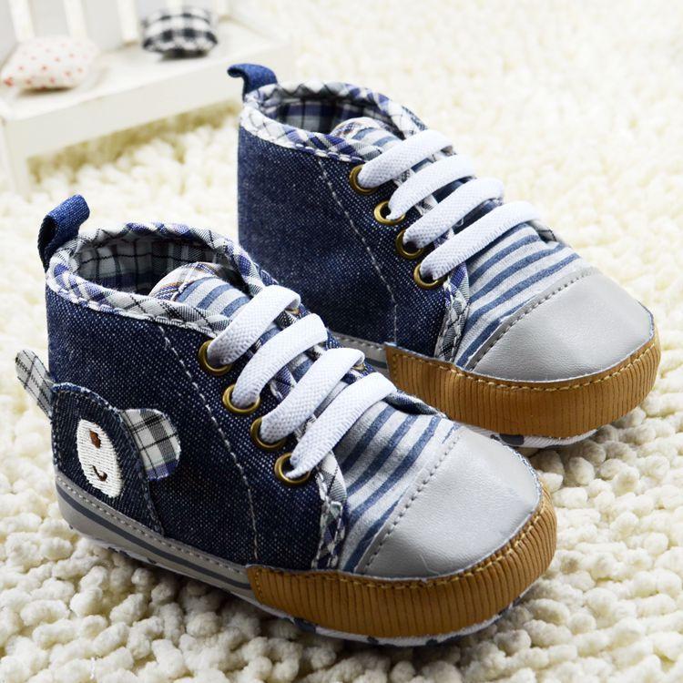 Baby Boys Denim Sneakers Cute Bear Newborn Infant First Walkers Navy Chausurre Garcon Sapatos de bebe Menino Tennis Casual shoes(China (Mainland))