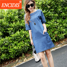 2016 Latest Women Fashion Summer Denim Dress Plus Size 3XL Blue Mini Half Sleeve Casual Jeans Dresses European Style Q60
