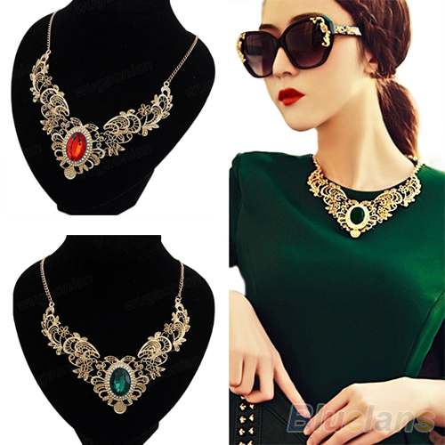 Luxury New Women's Lady Gold Plated Crystal Hollow Out Flower Pattern Choker Bib Necklace Red Green Hot Selling 02K3