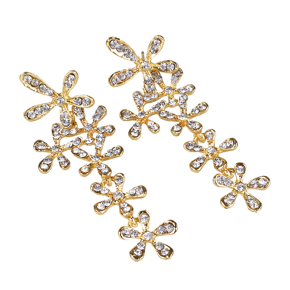 Fashion Vintage Style Trendy Rhinestone Snow Leaf Ear Stud Earrings For Women Jewellry Accessories Gift(China (Mainland))
