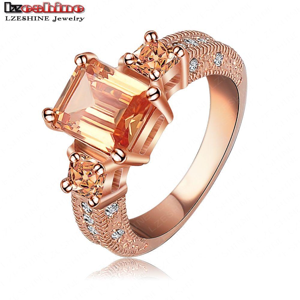 Красивая кольцо прямоугольник-кольца циркон резки кольцо 18 К розовое золото / платина покрытием женщинам-кольца мода ювелирных изделий оптовая продажа Ri-HQ1018