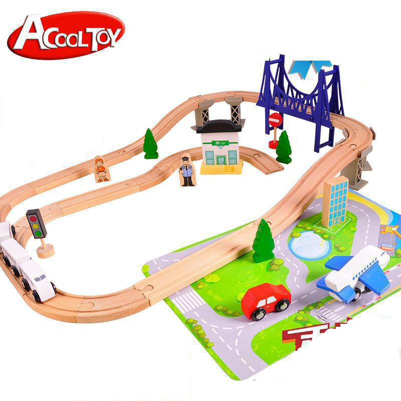 Diecasts Toy Vehicles Kids Toys train Toy Model Cars wooden puzzle Building slot track Rail transit Parking Garage 44 pcs(China (Mainland))