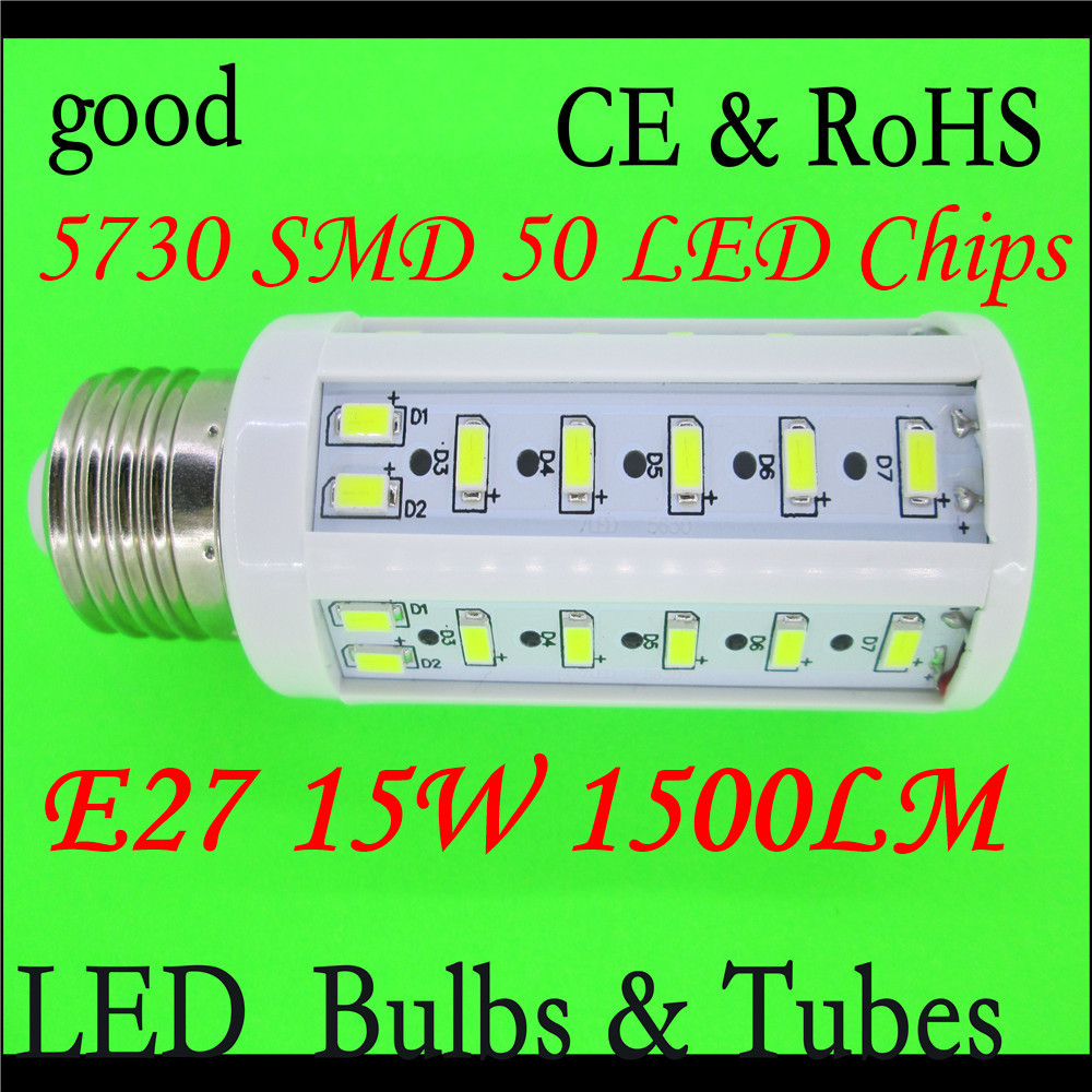 NEW! E27 15W 50 SMD 5730 Chip Corn Lamp LED 15W Energy Saving Light Lamp Bulb 110V/220V Warm White/White High Luminous Spotlight(China (Mainland))