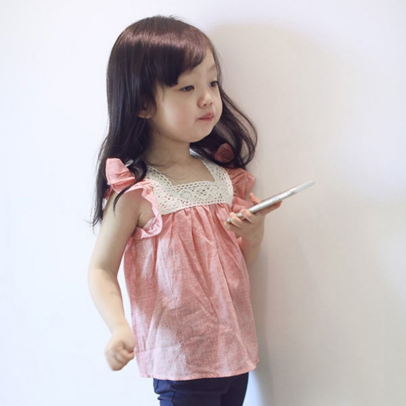Summer Kids Toddler Girls Casual Lace Stitching Blouse Tops Kids Summer Toddler Girls