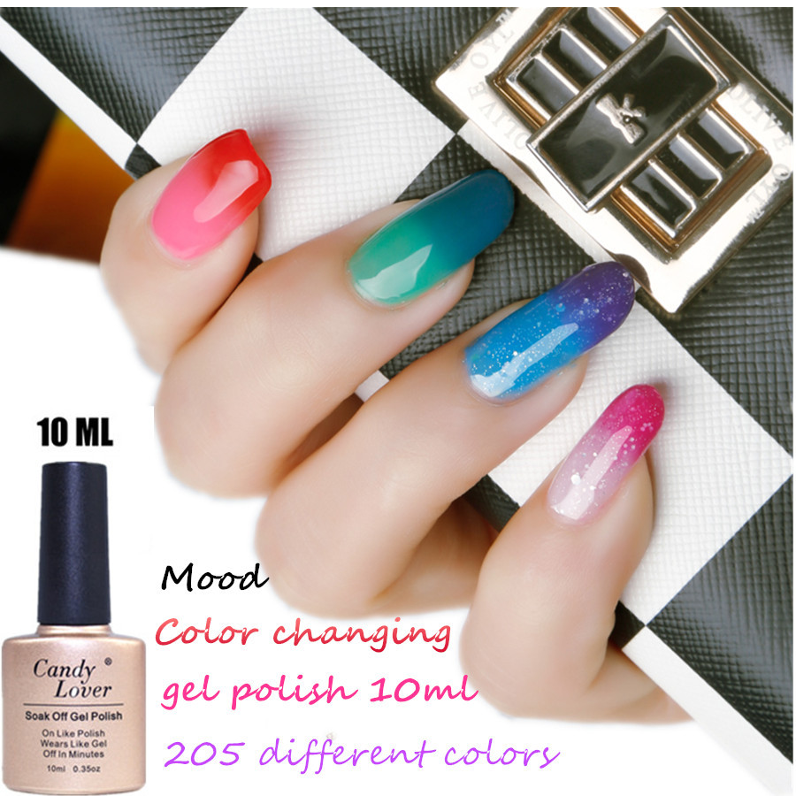 Candy Lover Chameleon Temperature Color Changing Gel Nail polish Lacquer long lasting up to 30 days 205 color in stock(China (Mainland))