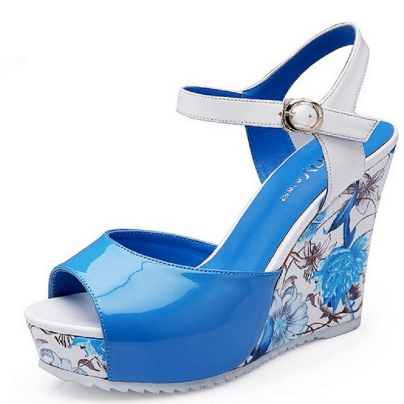 High Quality ! Summer print wedges high heel sandals female shoes women platform comfortable national trend shoes sandalias(China (Mainland))