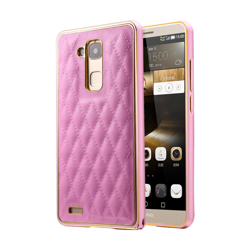 XUENAIR Sheepskin Metal Frame Diamond lattice Mobile Phone Bag For HUAWEI Mate7 Case Cover For Huawei Mate7 Free Shopping(China (Mainland))