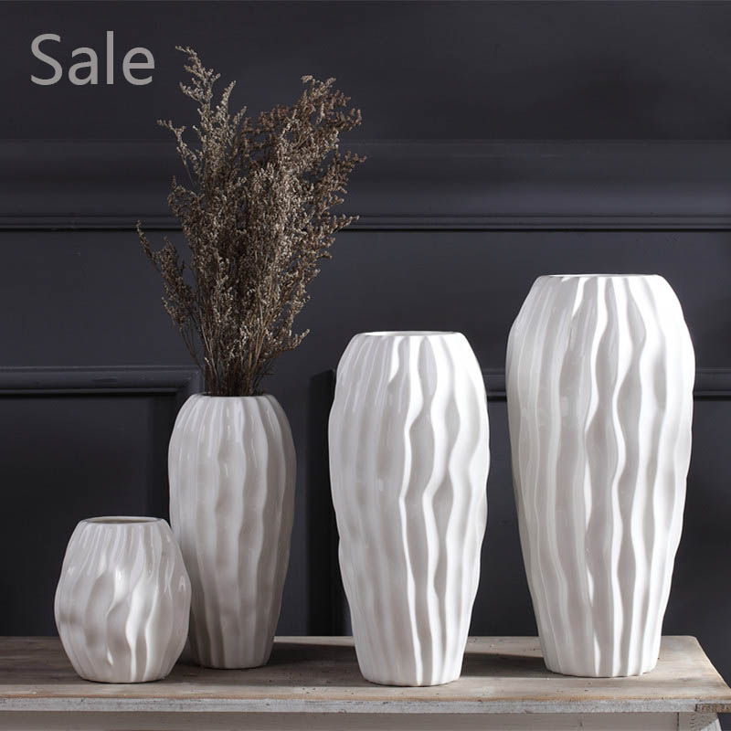 White Ceramic Flower Vase Crafts Creative Flowerpot Simple