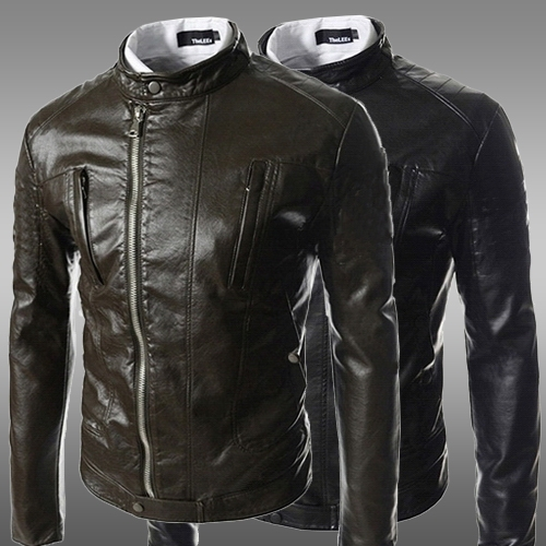 2014 winter new arrive Inclined zipper design mens leather jackets coats men Modern Stylish motorcycle jacket - Brand Makeup shopping store