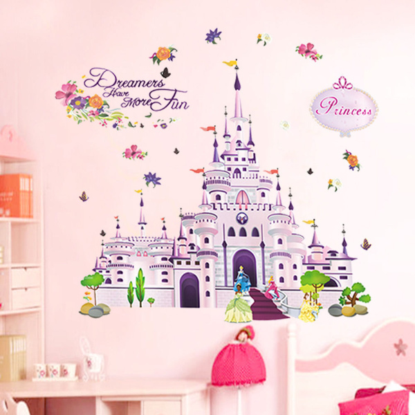 Castle Wall Mural Sticker Of 100 85cm Princess Castle Wall Stickers Vinyl Decal Girl
