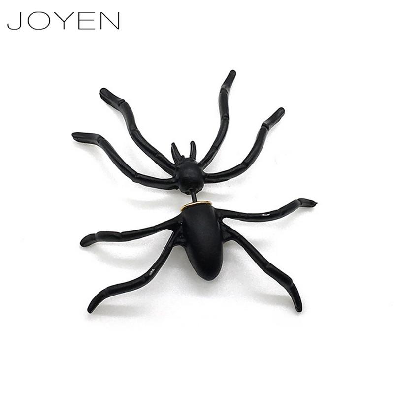 JOYEN Black Spider Ear Stud Earrings For Women Earring Fashion Jewelry Men Couple Pendientes Mujer Moda Animal Punk Stud Earring(China (Mainland))