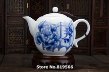 Real Jingdezhen Blue and white ceramic teapot 300ml chinese porcelain kung fu tea set drinkware pot
