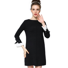 Sweater Dress 2015 New Arrival Fashion Bow Flare Sleeve Spring Autumn Ladies Black Dress L-5XL Plus Size Women Dresses Vestidos(China (Mainland))