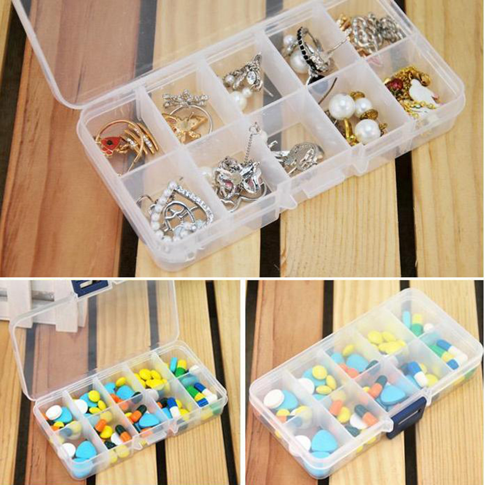 New Plastic 10 Slots Compartment Adjustable Jewelry Necklace Clear Storage Box Case Holder Craft Organizer Hot Sale Free Shiping(China (Mainland))