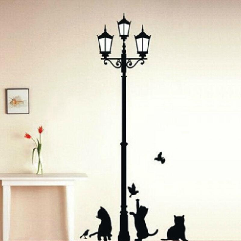 Home Decoration 3 Little Cat under Street Lamp DIY Wall Sticker Wallpaper Art Decor Mural Room Decal(China (Mainland))