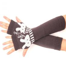 New Hot Korean Cute Cartoon Rabbit Pattern Knit Wool Gloves, A Long Section Of Half-finger Arm Sleeve Wholesale Fashion Lady(China (Mainland))