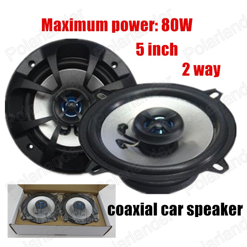 Car Audio 5 inch coaxial car speaker car stereo audio speakers one pair installed 2 way 2x80W for all cars(China (Mainland))