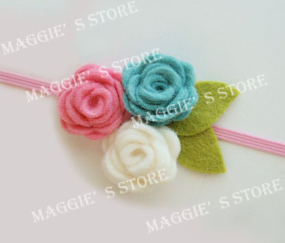 "3"" Baby felt headband Girls' Hair band Baby felt hair bows flower head band hair bands B014 120pcs"