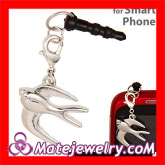 10 pcs/lot Fashion Designer Swallow Charm Earphone Jack Anti Dust Cap Plugy Earphone Jack Accessory ,EC0141-2(China (Mainland))