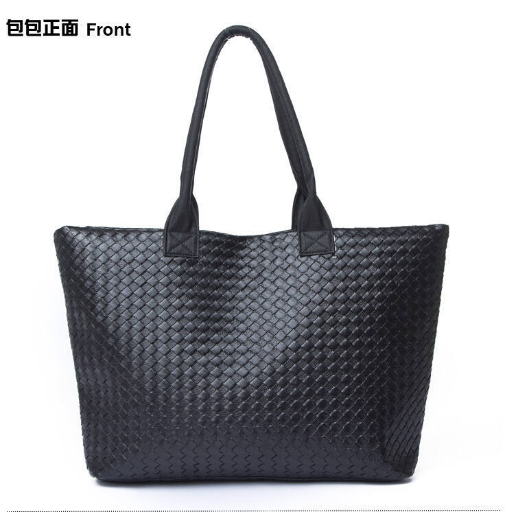 2015 Famous Brand Hot Saling Women Classic Black Vintage Style High Grade PU Shoulder Bag Knitting Big Bag Free Shipping XA343D(China (Mainland))