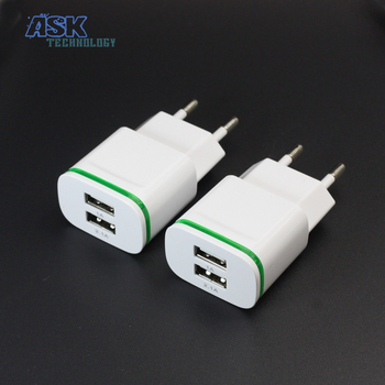 5V 2A EU Plug LED Light 2 USB Adapter Mobile Phone Wall Charger Device Micro Data Charging For iPhone 5 6 iPad Samsung Wholesale