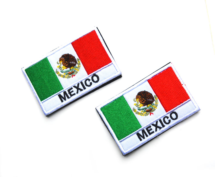New Arrival 3pcs MEXICO National Flag Team Football Embroidery Patch Military Tactical Badge Clothes Accessory 8x5cm(China (Mainland))
