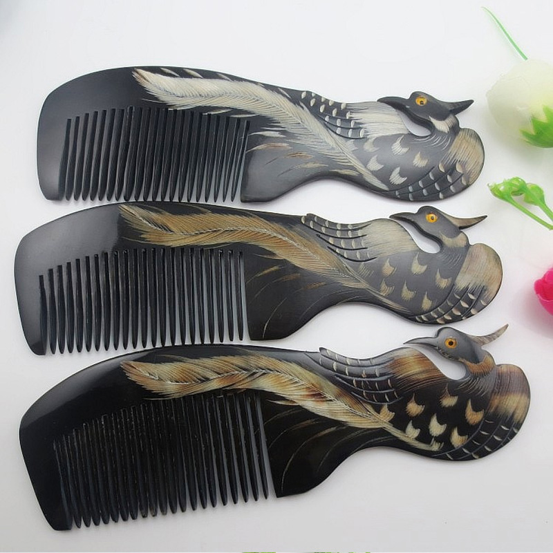 High Quality Natural Horn Comb Phoenix Upscale Boutique Hand-carved Art Special Gift For Women(China (Mainland))
