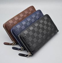 Guaranteed High Quality Men Plaid Clutch Wallets Male Zipper Cash Purse Money Pocket Male Leather Purse Holders for Cards