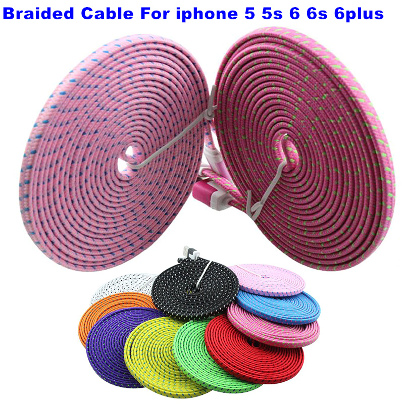 Free Shipping 1M/2M/3M colorful Flat Braided Fabric Woven Micro USB Data Sync Charger Cable Cord Wire for iPhone 5 5s 6 6Plus(China (Mainland))