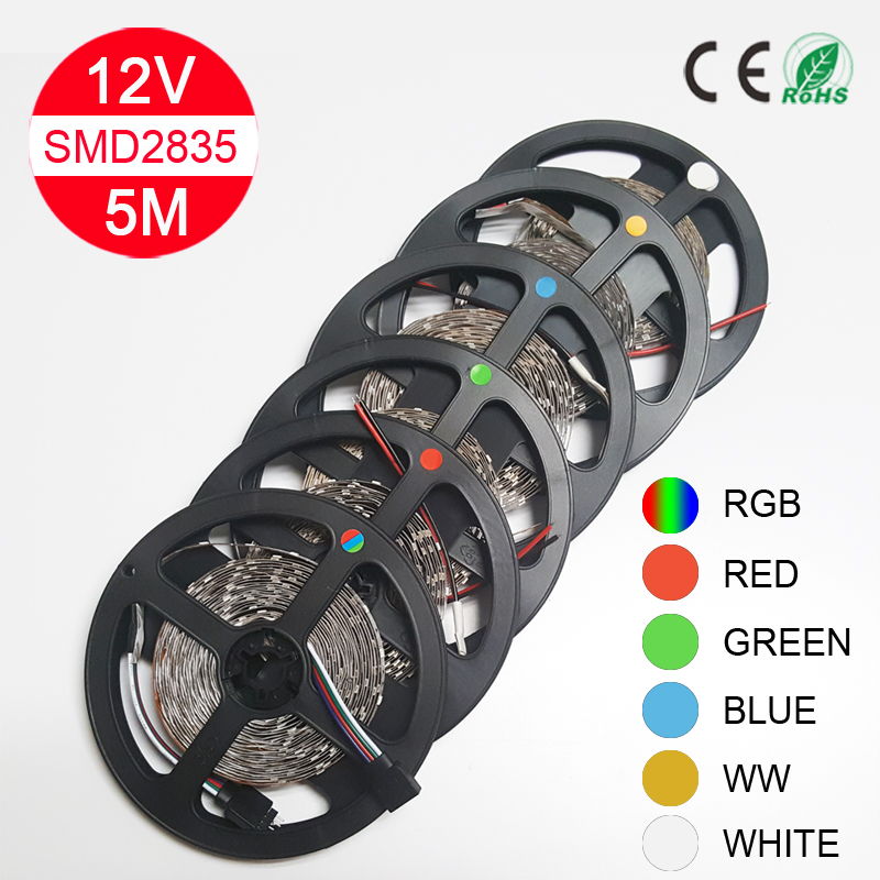 5M Led Strip Light SMD 2835 60led/M 300LEDs Flexible Led Light String RGB Red Blue Green White for Christmas party free shipping(China (Mainland))