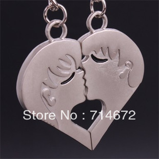 "Free shipping (40PR/LOT )Wholesale Personalized ""Kiss ""  Silver Heart Charm STAINLESS STEEL LOVE KEY RING-KEY CHAIN"