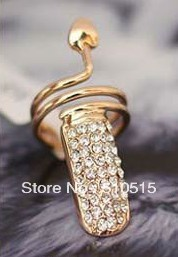 Fashion T-Stage Crystal Wrap Snake Knuckle Nail Ring<br><br>Aliexpress