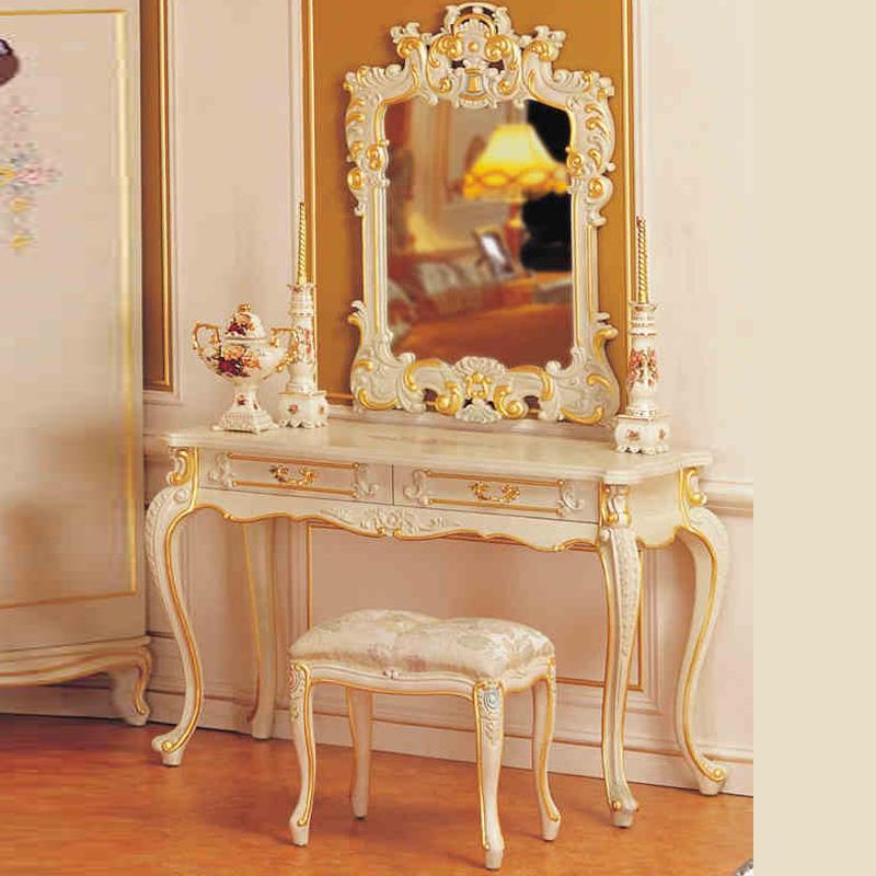 European Classical Furniture Wood Paint Cracks Luxurious Bedroom Dresser Dressing Combination Of Makeup Mirror Makeup Stool(China (Mainland))