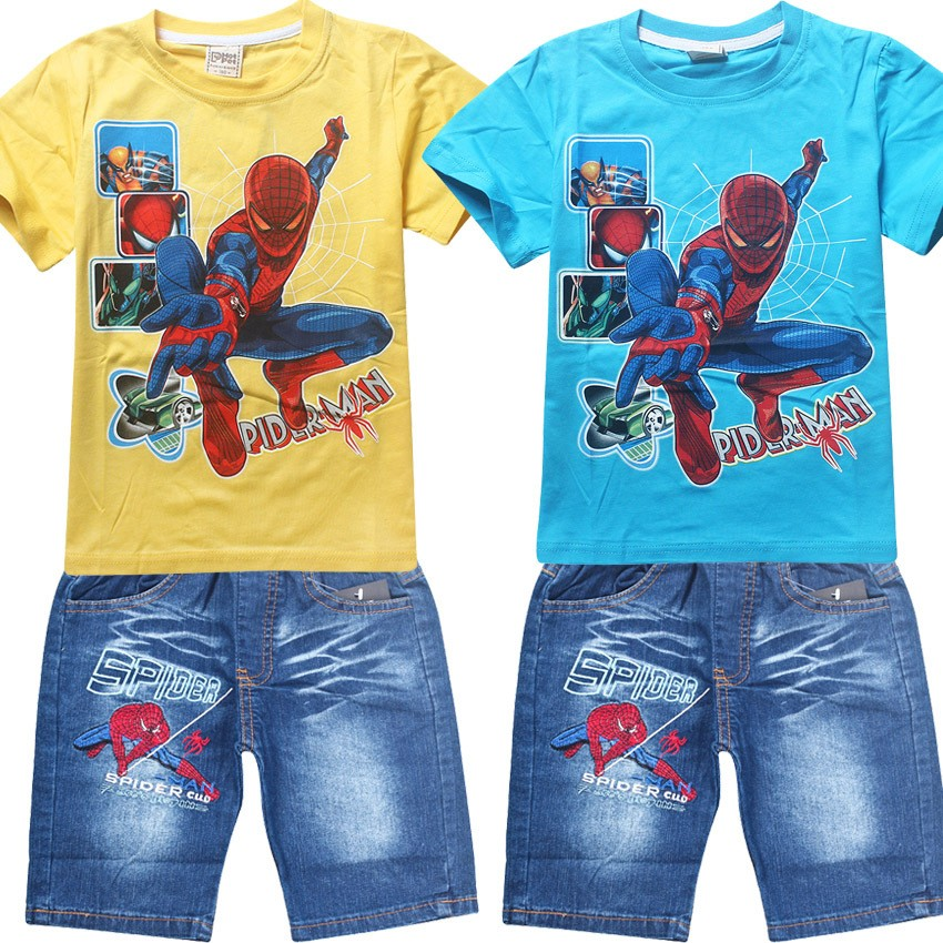 2017 Summer Children Cotton Clothing Sets Baby Boys Cartoon Clothes Sets Spiderman Kids T-shirt +Shorts 2Pcs Casual Sport Suits