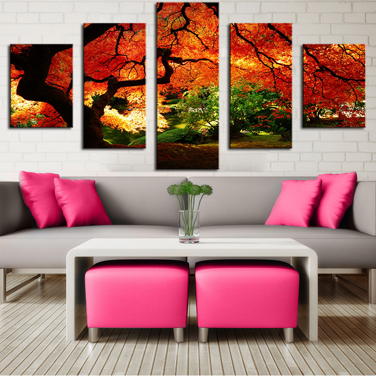 5 Panel maple-in-autumn Modern Home Wall Decor Canvas Picture Art Print WALL Painting Set of 5 Each Canvas Arts Unframe(China (Mainland))