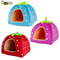 Umiwe Cute Soft Sponge White Dots Strawberry Pet Cat Dog House Bed With Warm Plush Pad
