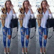Buy Women Jeans Skinny Pencil Hole Pants Ripped Denim skinny sexy Bottom Female Slim Trousers Summer leggins for $14.27 in AliExpress store
