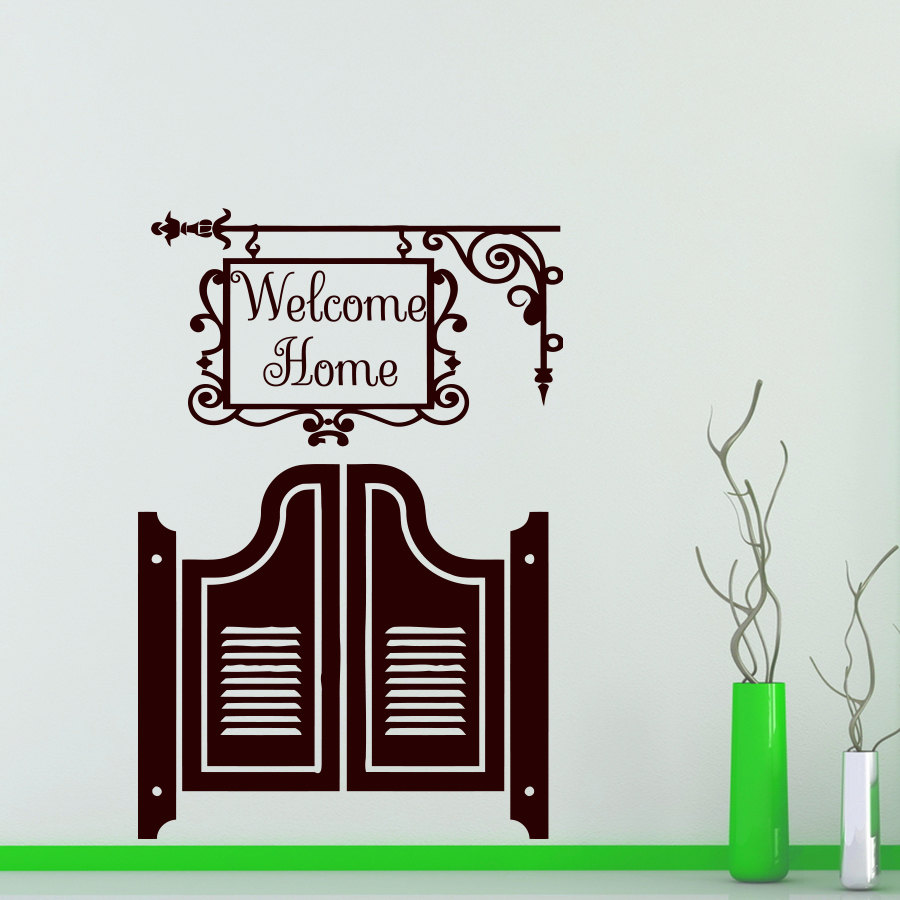 Welcome Home Door Wall Sticker Vinyl Removable Creative Home Decor Self Adhesive Wall Murals