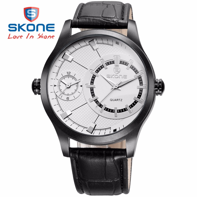 2015 New Brand Skone Watch Men Business Fashion Casual Sports Stainless Steel Quartz Watches  Wristwatch Relogio Masculino