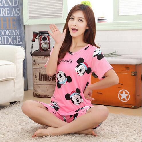 Free shipping new pajamas for women short-sleeved summer pajama sets Cartoon lovely pajamas Casual Cute girl sleepwear suit(China (Mainland))