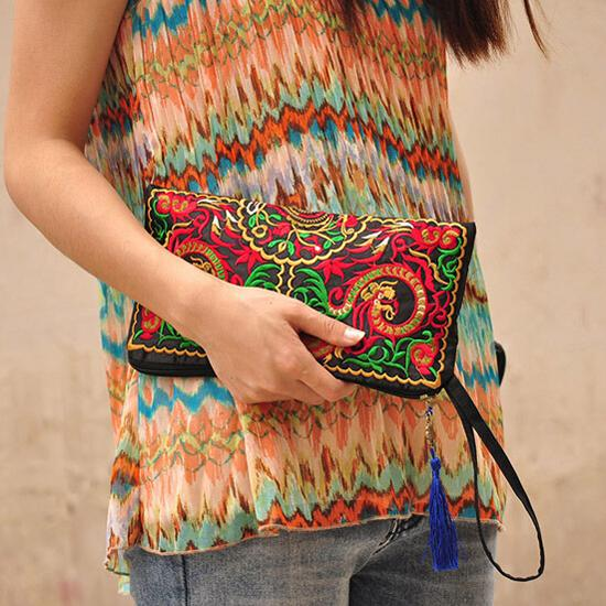 NEWBRAND New Women Wallet Embroider Purse Clutch Mobile Phone Bag Coin Bag-double dragons<br><br>Aliexpress