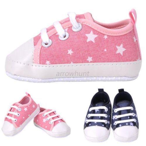 Newborn Baby Toddler Boys Girls Soft Sole Kids Shoes Canvas Prewalker Lace Up Sneaker 0-18M SH98