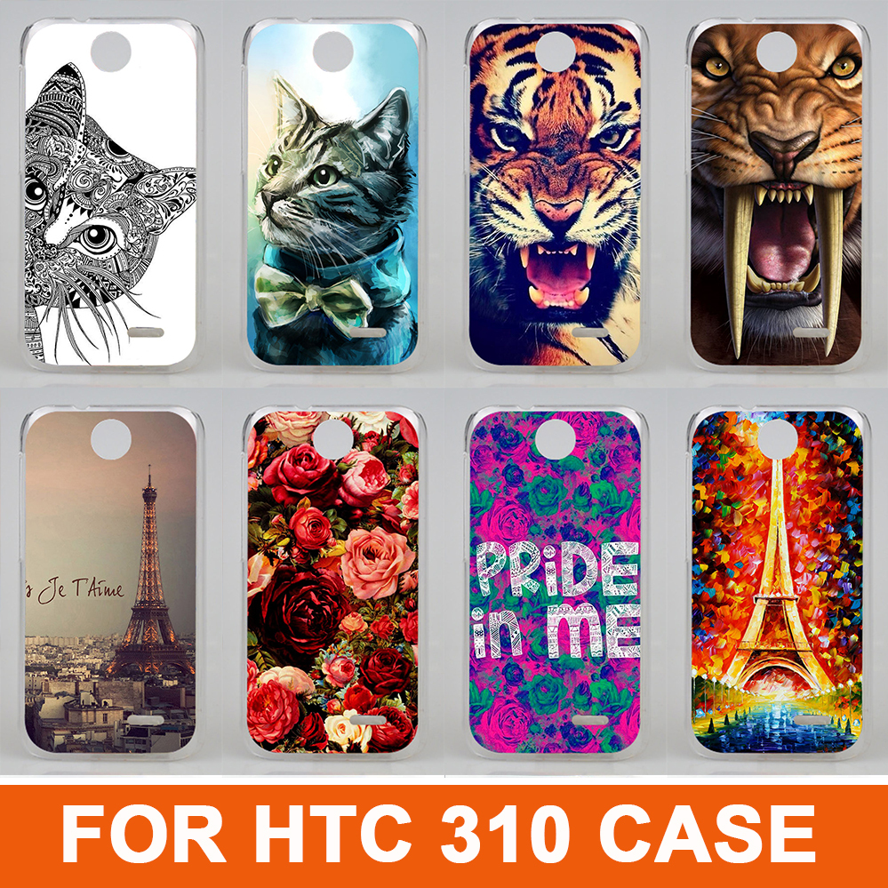2015 New Fashion 14 patterns painting colored animals eiffel tower beautiful flowers design case cover for htc Desire 310 D310W(China (Mainland))