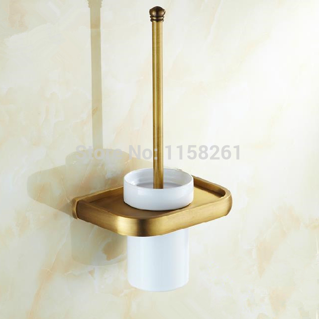 free shipping toilet brush holder brass construction base in antique finish ceramics cup. Black Bedroom Furniture Sets. Home Design Ideas