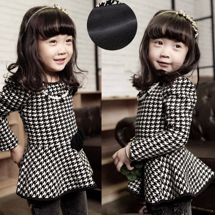 Spring Autumn Baby Dress Girls Clothes Child Long Sleeve Houndstooth Elegant Slim dress Baby Girl Princess Dress(China (Mainland))