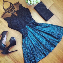 2016 women dress short formal lace dresses casual wild o-neck sleeveless a-line dress pary night club plus size women clothing(China (Mainland))